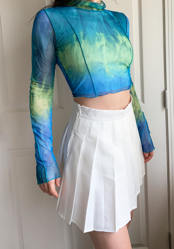 Deep Sea Tie Dye Mesh Crop Top