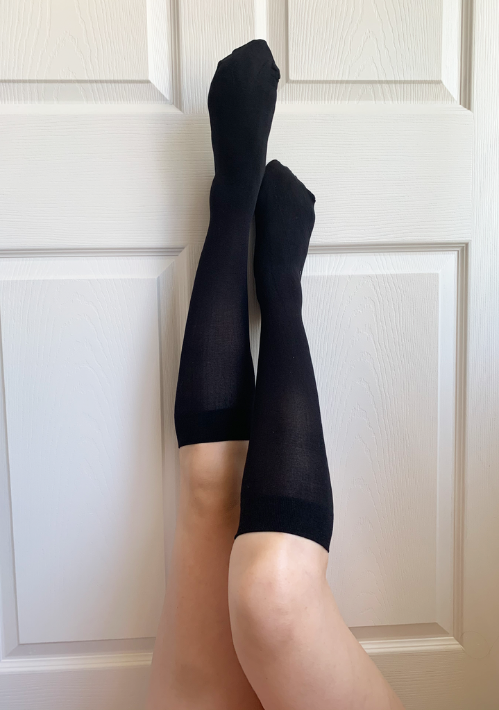 Black Hon Knee High Sock