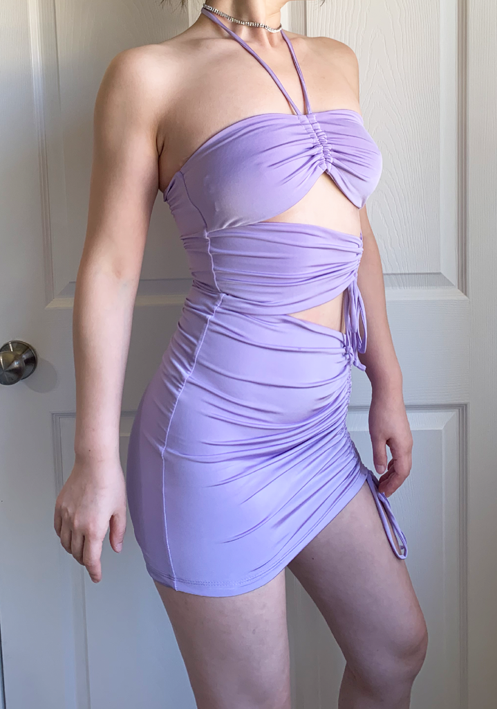 Lavender Solid Queen Ruched Mini Dress