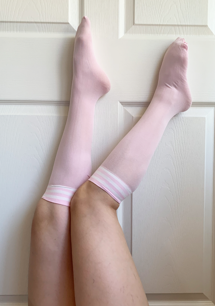 Lit Pink Fire Striped Knee High Sock