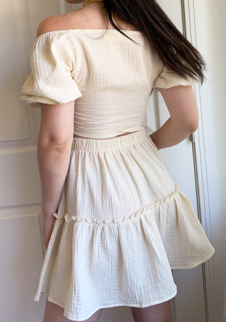 Cream Linen Free Ruffle Os Top & Skirt Set