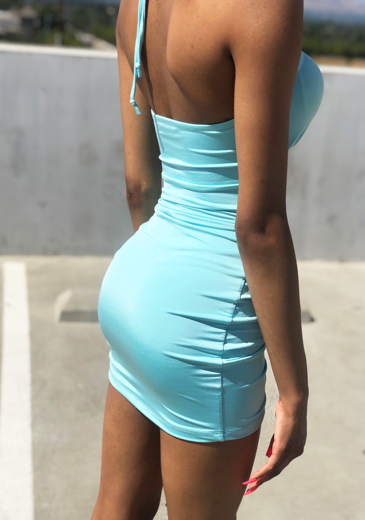 Mint Blue Queen Ruched Mini Dress
