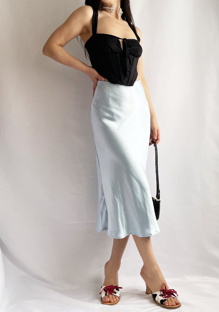 Sky Candy Blue Satin Midi Skirt
