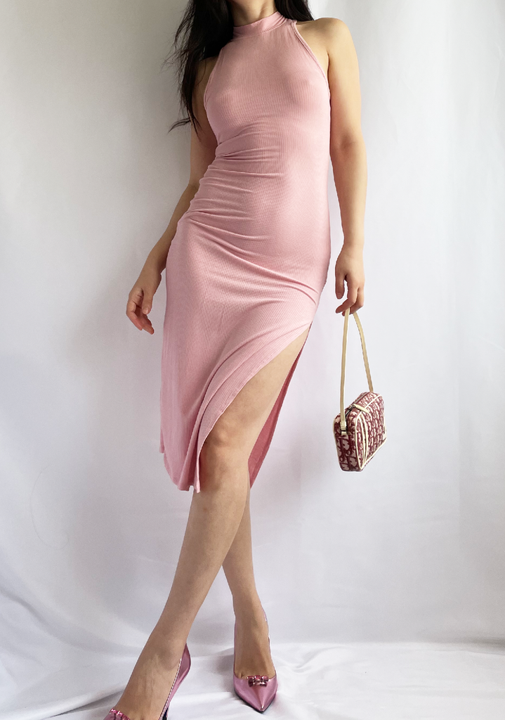 Simply Bliss Light Pink Mock Neck Ribbed Dress