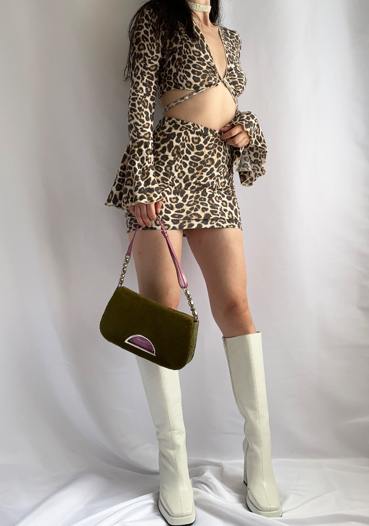 Leopard On Fire Bell Sleeve Top & Mini Skirt