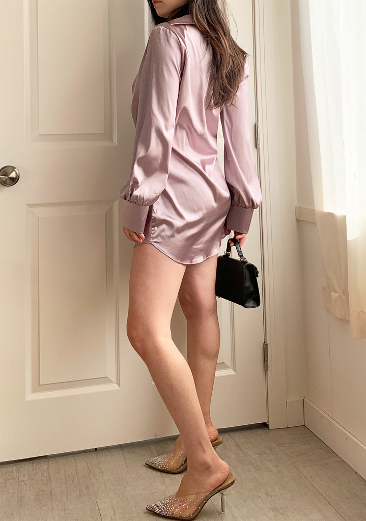Shimmer Mauve Satin Dress