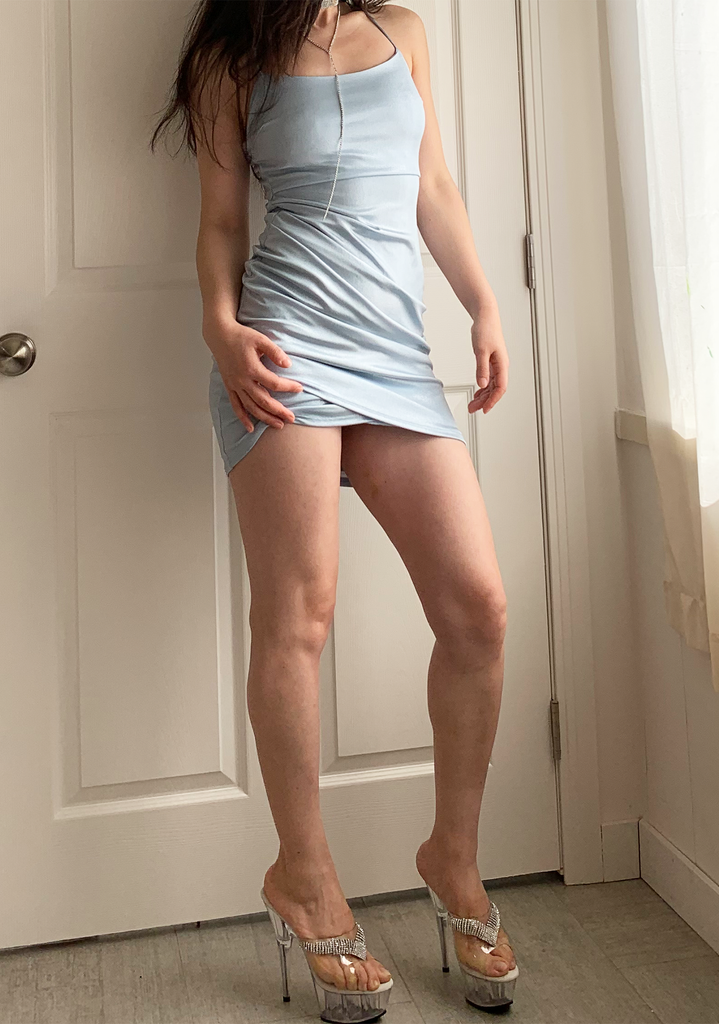 Shiny Baby Blue Bestie Slip Dress