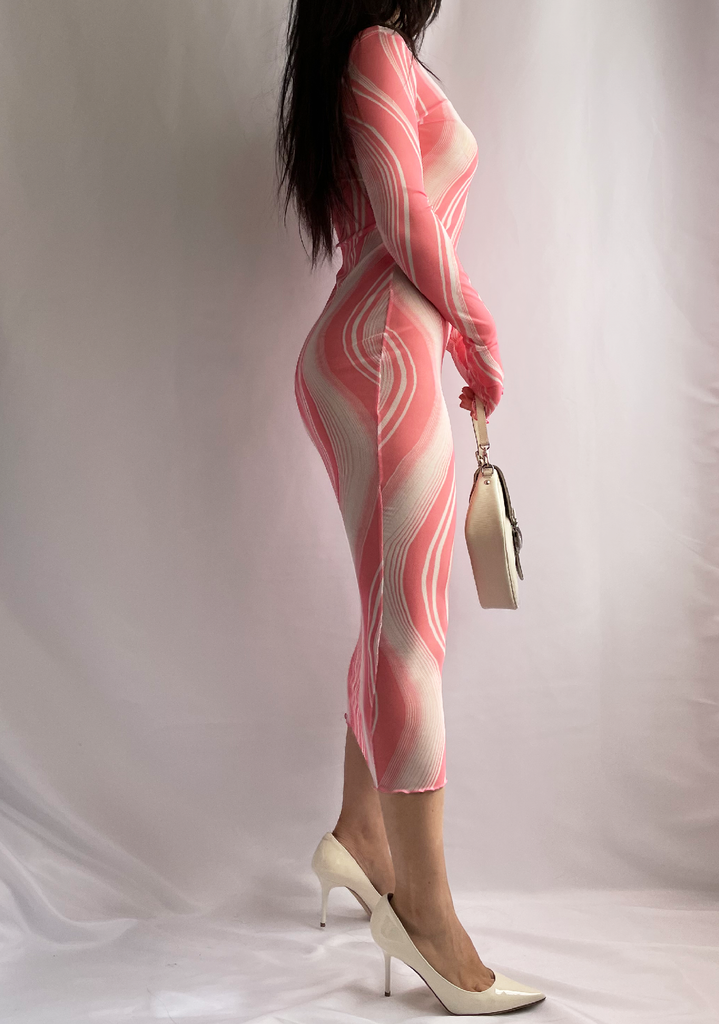 Angel From The Moon Pink Swirl Mesh Dress
