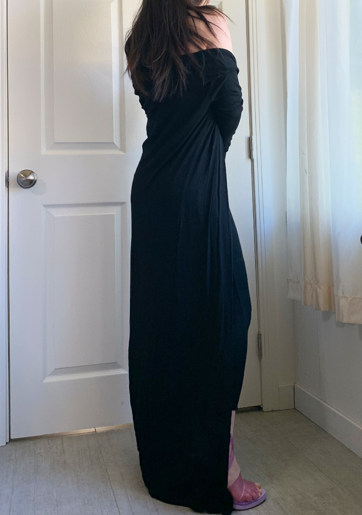 Black Magi Ribbed Maxi Cardigan and Tube Dress Set