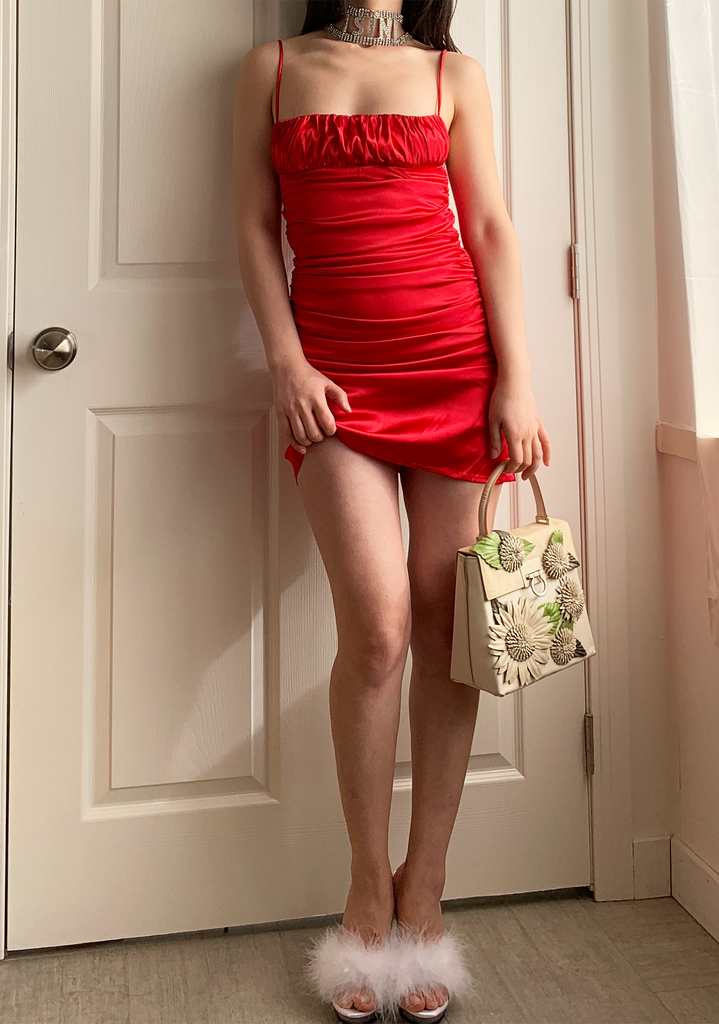 Valentines Red Satin Dress