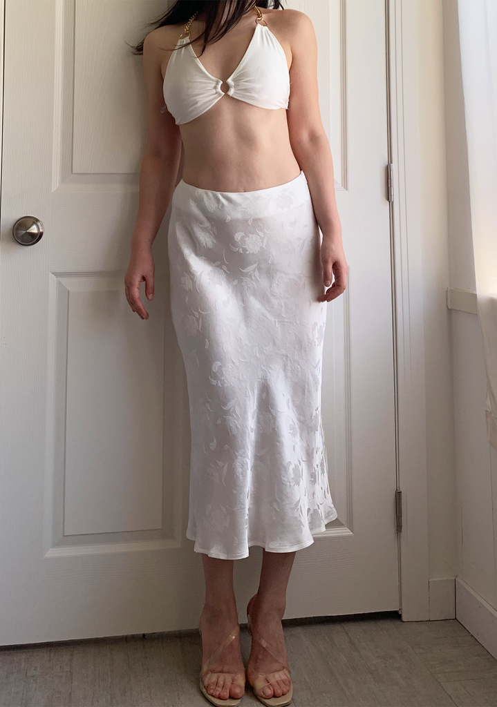 Satin White Midi Skirt