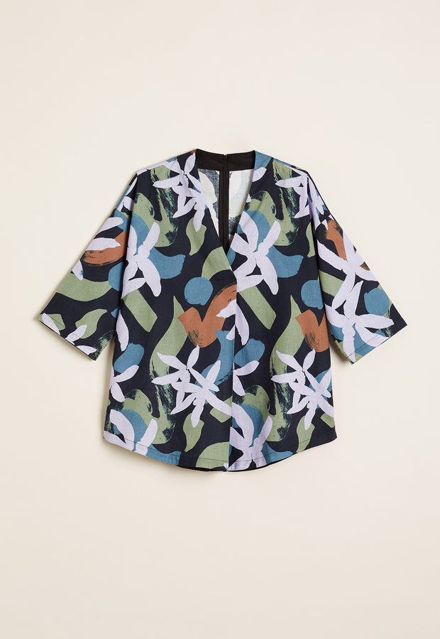 nancybird shawl top / abstract floral