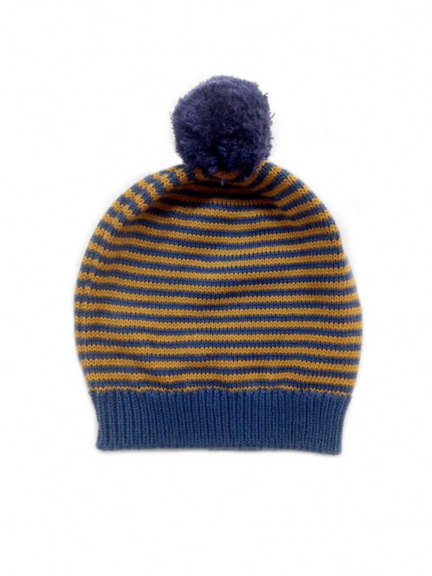 big pom stripe baby hat