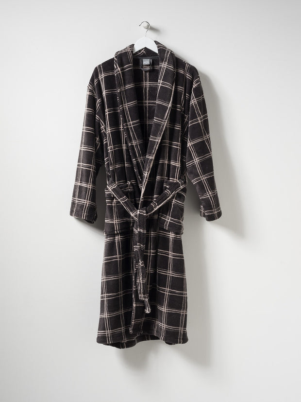mens velour dressing gown / plaid