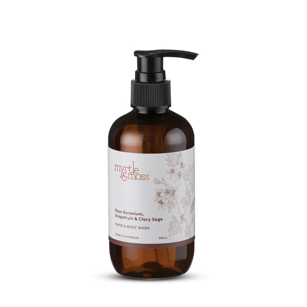 myrtle & moss body wash / rose geranium range