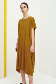 kowtow side pleat dress