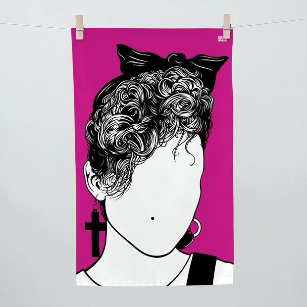 music icon face tea towel