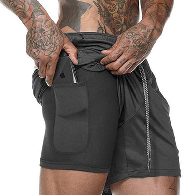 Quick Drying Men's 2 in 1 Running Shorts with Built-in Pocket Liner - Gym Explosion