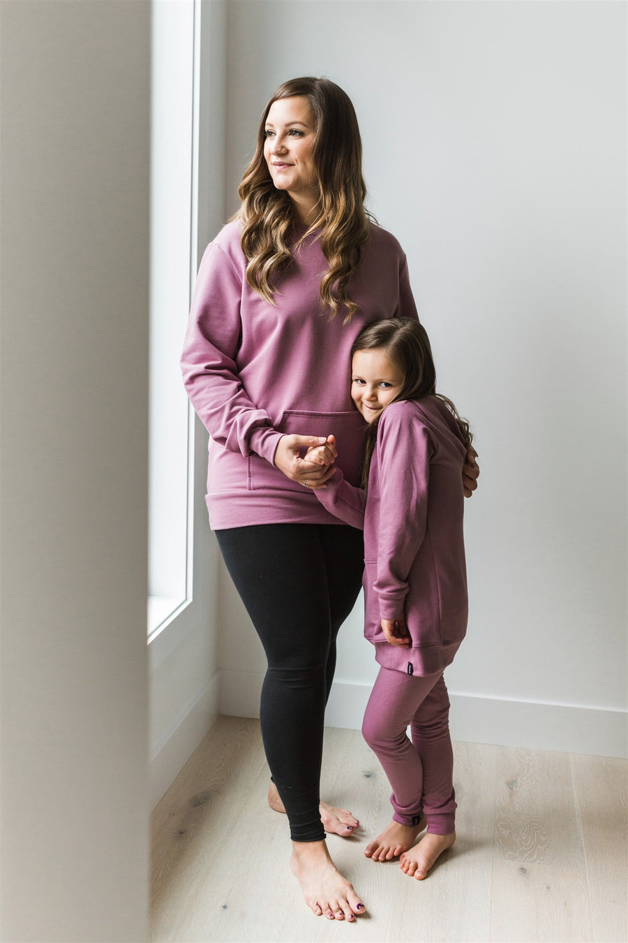 Bamboo Fleece Hooded Sweater in Mauve