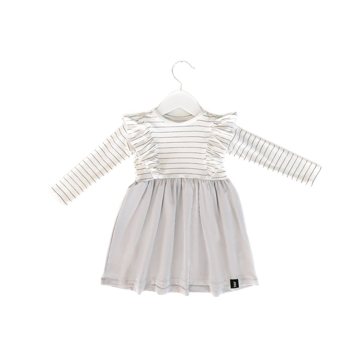 Long Sleeve Ruffles Dress in Soft Silver