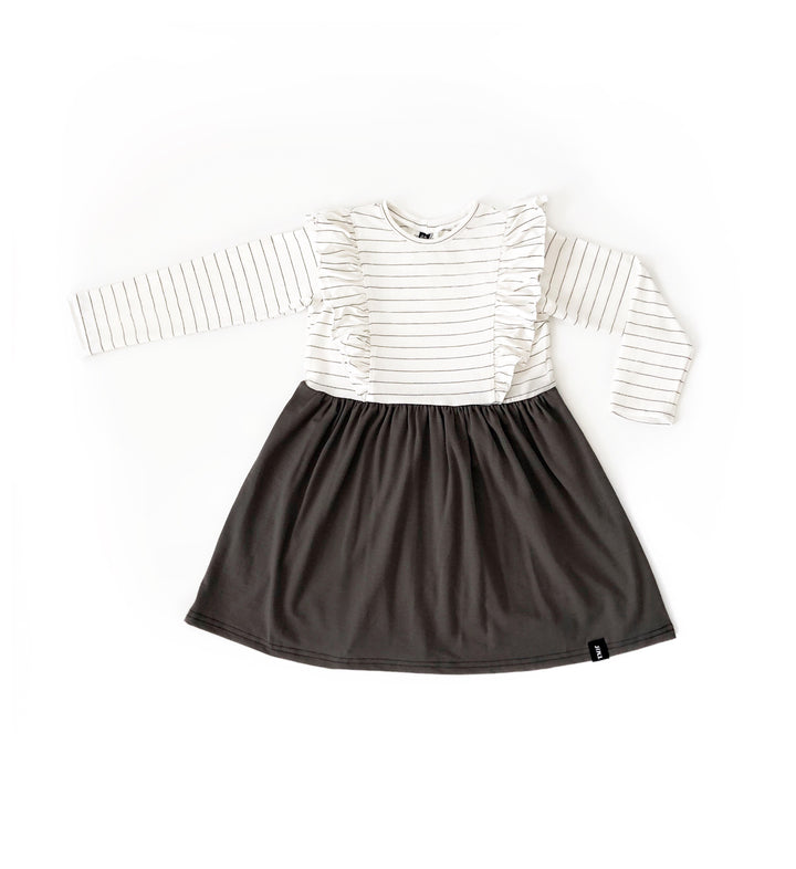 Child Long Sleeve Ruffle Dress - Charcoa