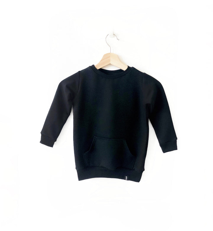 Children's Crew Neck Black Sweater | Bamboo clothing for kids | Trendy Children's clothing,  Canadian Made Children's Clothes