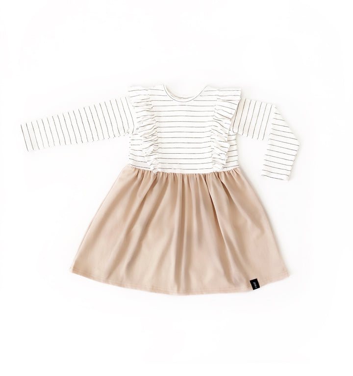 Child Long Sleeve Ruffle Dress - Beige.j