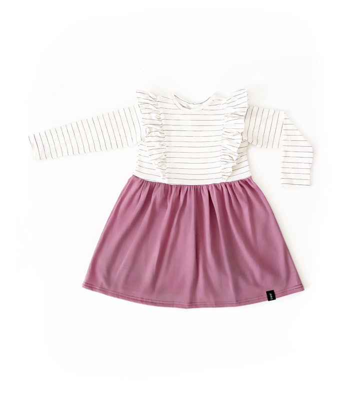 Child Long Sleeve Ruffle Dress - Ginger.