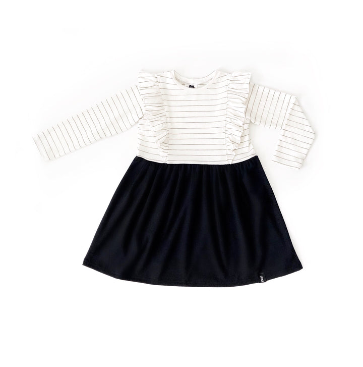 Child Long Sleeve Ruffle Dress - Black.J