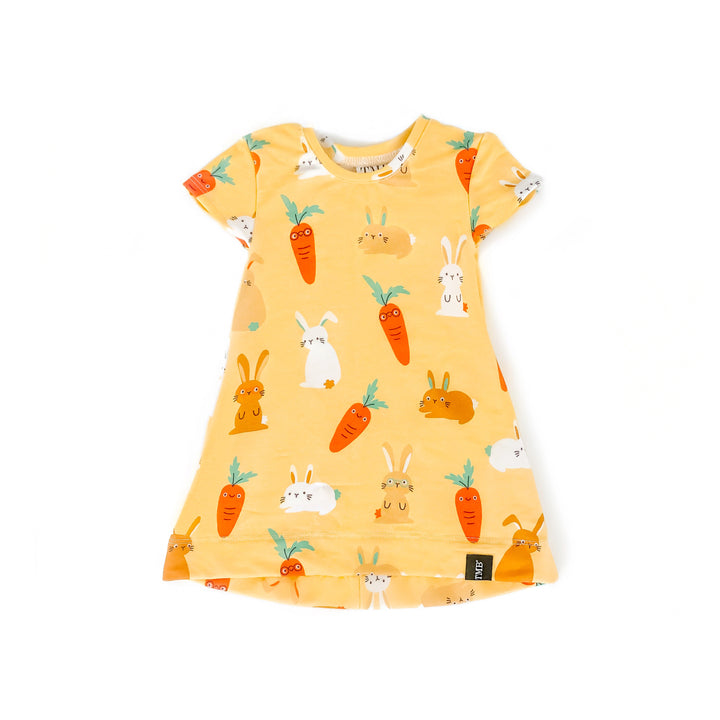 Yellow Bunny And Carrot Pocket T-Shirt Dress