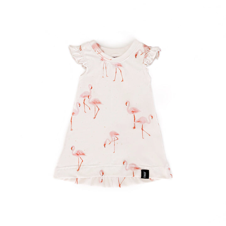 Flamingo Ruffle Sleeve T-Shirt Dress