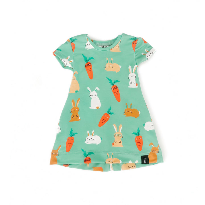 Green Bunny And Carrot Pocket T-Shirt Dress