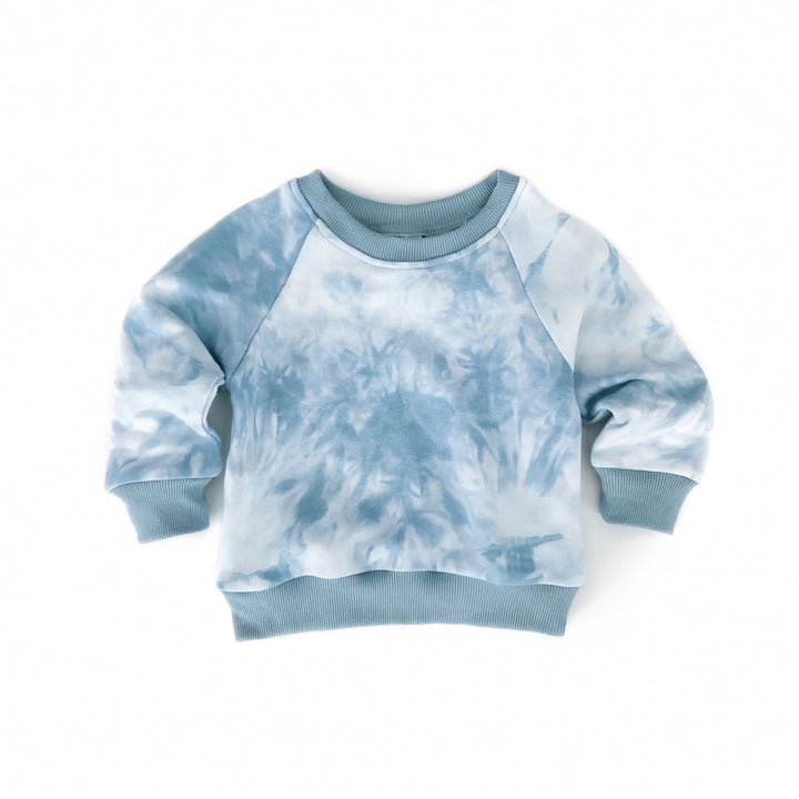 Chambray Blue Tie Dye Crew Neck Sweater