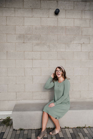 Sage Woman's Long Sleeve T-Shirt Pocket Dress