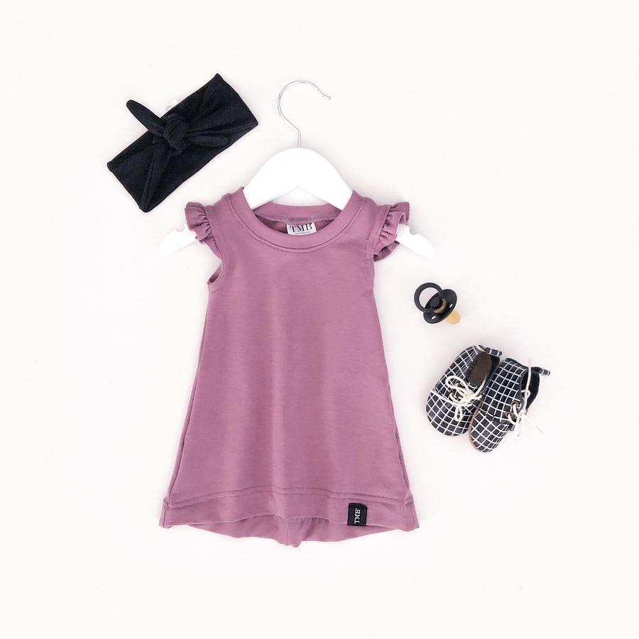 Mauve Ruffle T-Shirt Dress