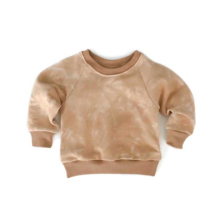 Golden Beige Tie Dye Crew Neck Sweater