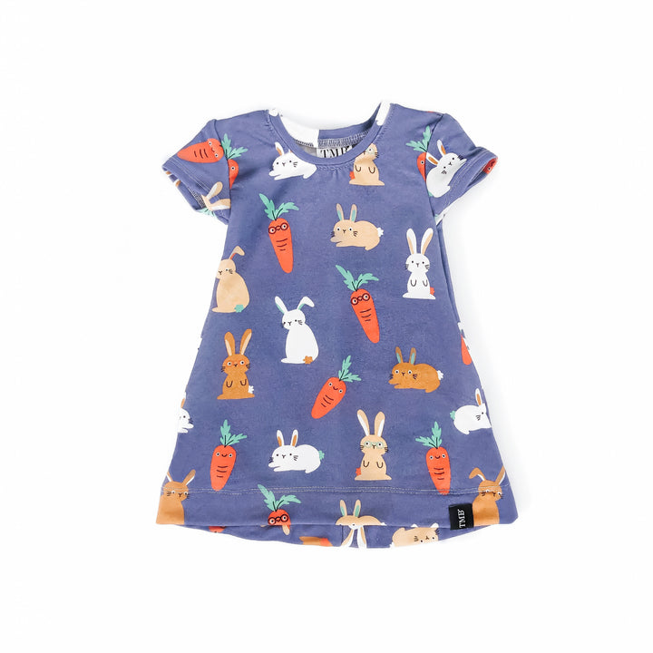Purple Bunny And Carrot Pocket T-Shirt Dress