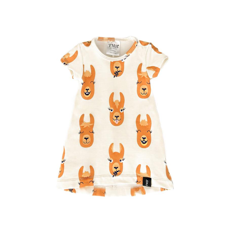 Llama Face Pocket T-Shirt Dress