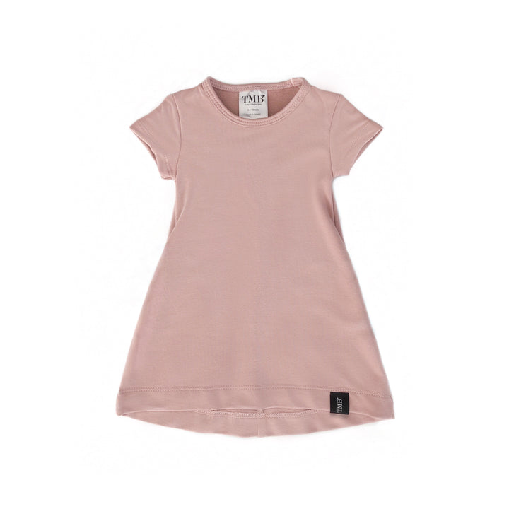 Soft Rose Pocket T-Shirt Dress