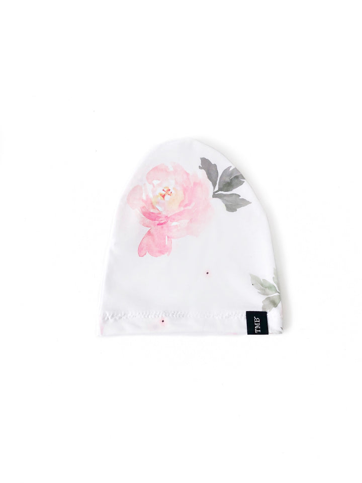 Pink Floral Water Colour Child Beanie