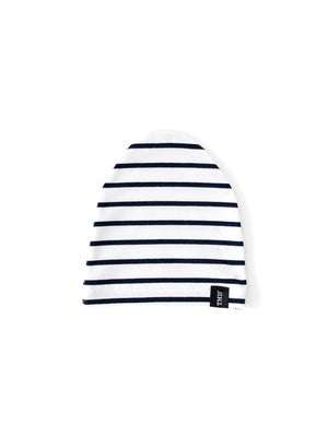 White Navy Stripe Child Beanie