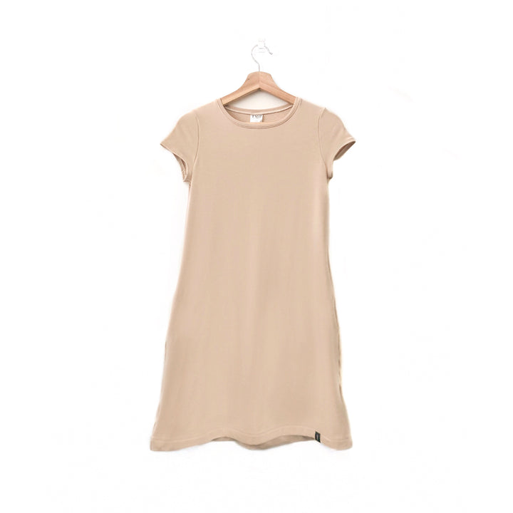 Beige Woman's T-Shirt Pocket Dress