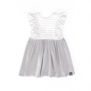 Short Sleeve Ruffle Dress in Silver Grey