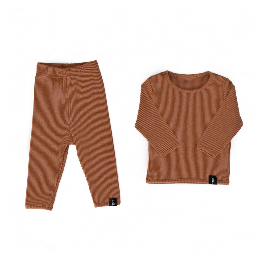 Ribbed Lounge Set - Deep Rust
