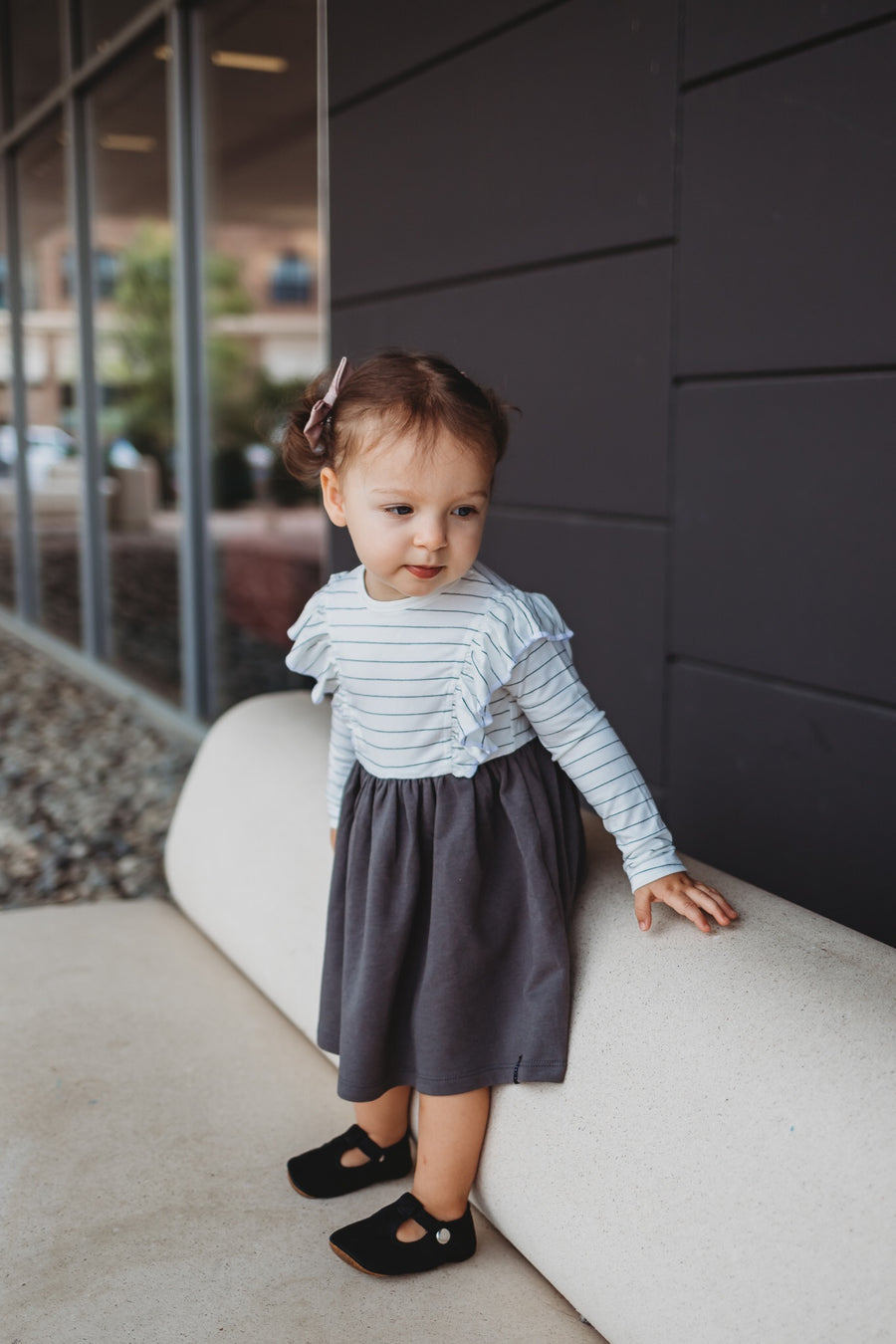 Long Sleeve Ruffles Dress in Charcoal
