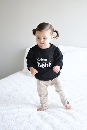 Kids Modern Bébé Crew Neck Sweater in Black