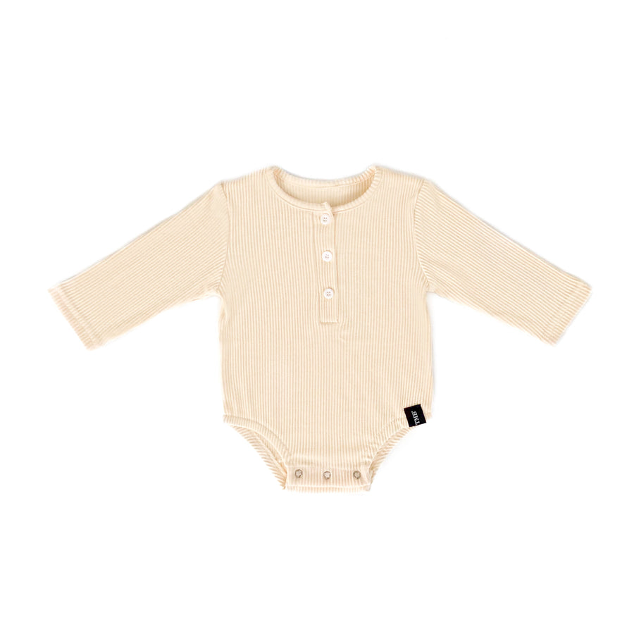 Ribbed Long Sleeve Onesie- Cream