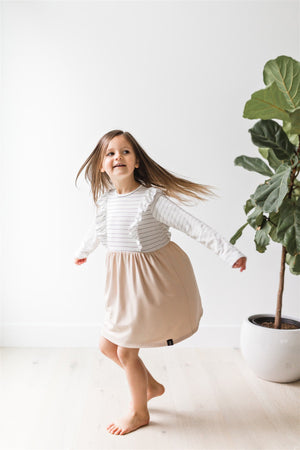 Long Sleeve Ruffles Dress in Beige