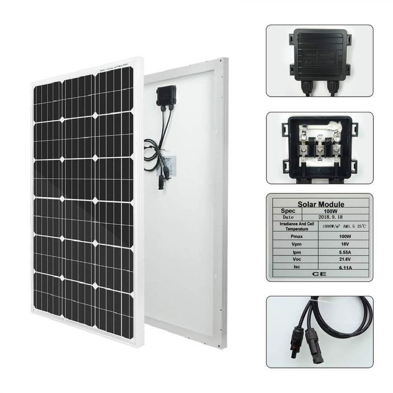100W mono solar panel  Specification