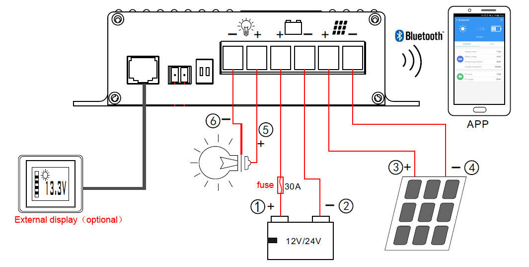 20A 12V/24V MPPT Controller Solar Charging Battery Bluetooth